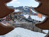 La terrasse du restaurant des Marmottes en hiver